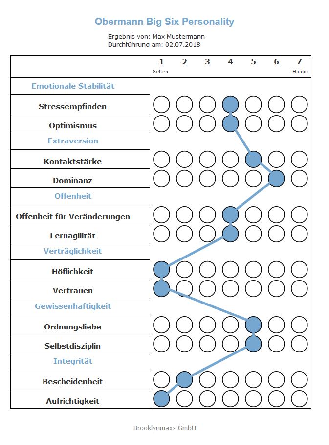 Persönlichkeitsfragebogen im Jobkontext