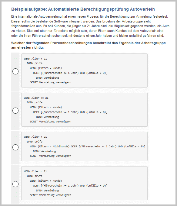 Beispielaufgabe zum algorithmischen kognitiven Test