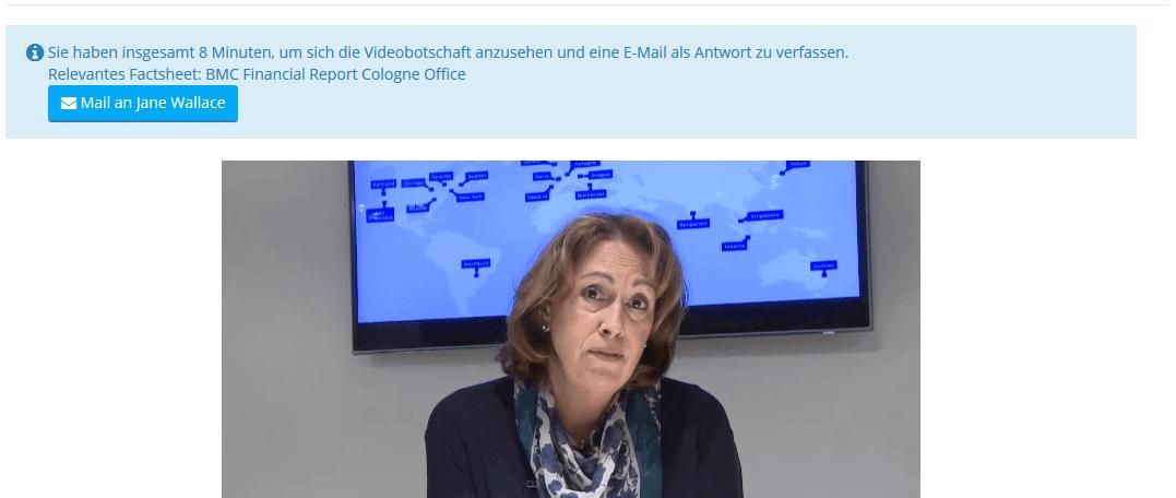 Online Assesment Beispielaufgabe: Videonachricht der Chefin