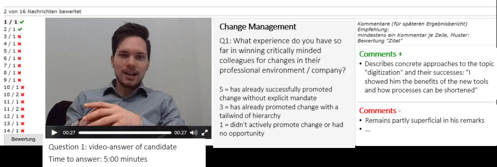 Beispielauswertung Video-Interview im virtuellen Assessment Center
