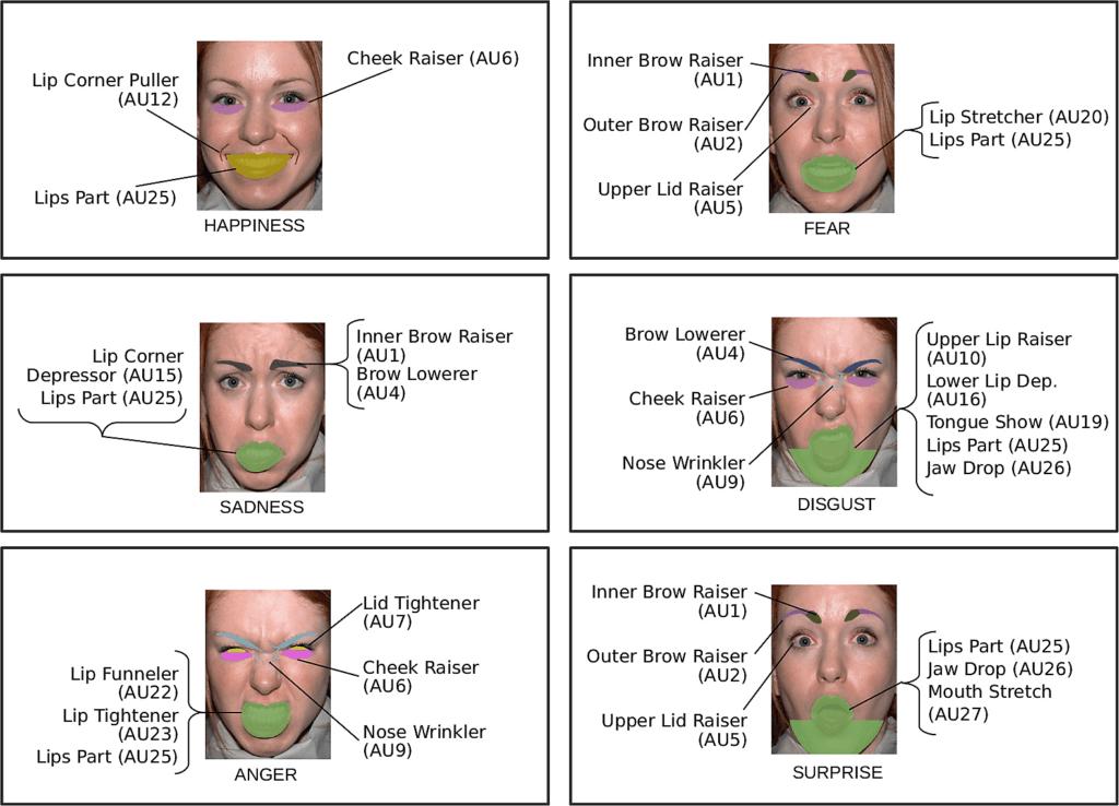 Darstellung verschiedener Gesichtsausdrücke